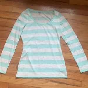 Express long sleeve lace striped shirt